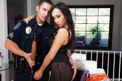 Katsuni shows billibongs and purchases penetrated by a untamed police officer