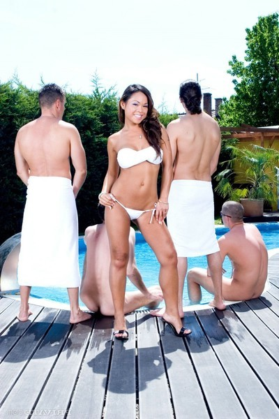 Damp eastern jade sin attains gang group-fucked in the pool
