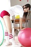 Nagisa Matsayama in sports apparatus plays with vast red testicle