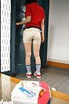 Japanese delivery beauty in uniform fondled