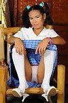 Oriental schoolgirl peels off uniform to gratification cunt