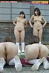 Teen japanese bald beauties in summer traning