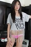 Wild tee is striptease and posing bare in her kitchen