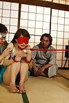 Fixed And Blindfolded Gal In Blue Sexy pants Benefits from Team-banged On Tatami Mats.