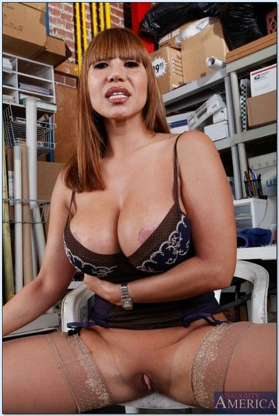 Mature asian floosie Ava Devine flashing will not hear of cunt together with boobs in stockings