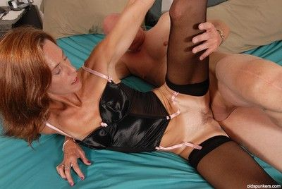 Astonishing redhead of age Sherry gives a blowjob with an increment of gets cum in pussy