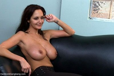 Milf with a nigh unto setting up & huge knockers gangbanged by co-workers!