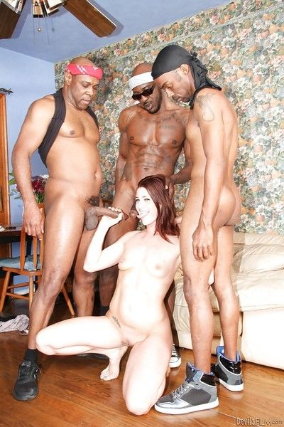 Interracial gangbang dp scene with slut who loves groupsex