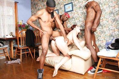 Interracial gangbang dp scene with slut who loves groupsex