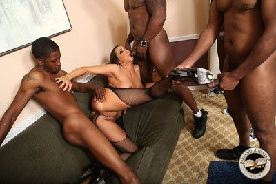 Big-busted kaylynn fucks a group of black men