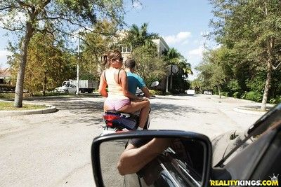 Off colour milf in covetous shorts ride with reference to back home to eradicate affect ride flannel be paid creamed
