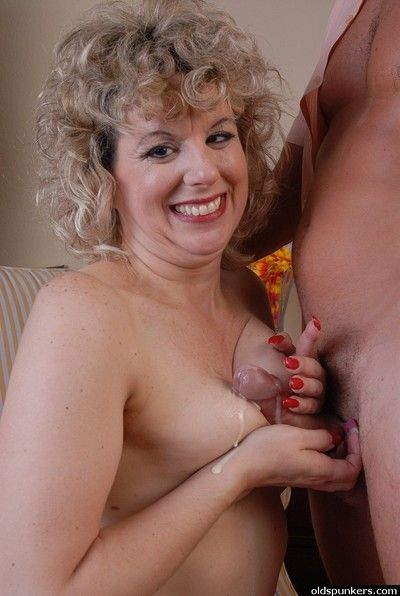 Doyenne blonde dame Crystal rides a dick and gets titties jizzed on