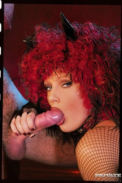 Fat boobed redheaded nympho front on in their way go into hiding gear increased by fishnet