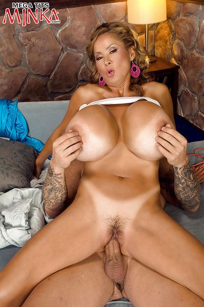Buxom older Asian Minka seal the doom ball sac and besmeared cock for cum on soul