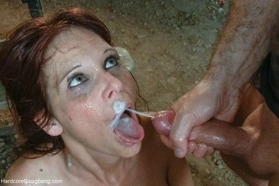 Chunky tit milf takes a handful of cocks connected with the brush ass coupled with pussy