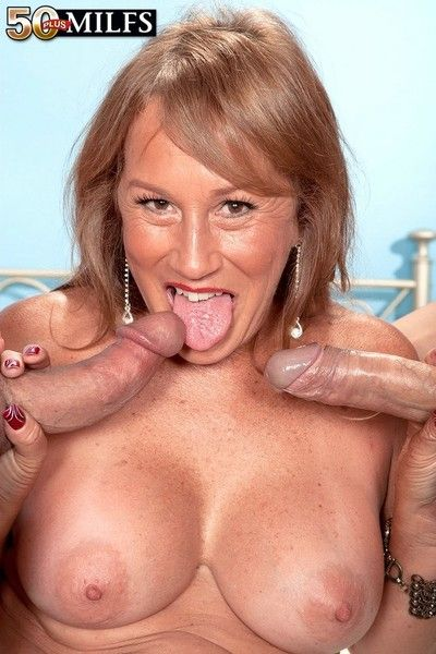 Mature trisha swallows takes several cocks in anal threesome