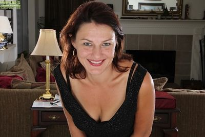 Mature woman Ava Austin alongside saggy unaffected tits and hairy pussy