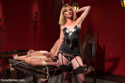 Electro femdom mona wales electrically teases  tortures slave