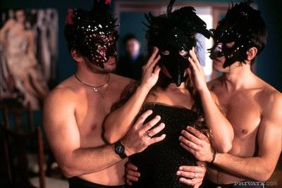 Gorgeous blonde fucked by two guys back masks anent strange troop
