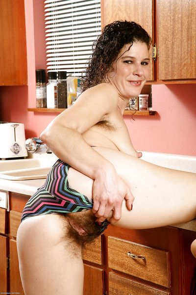 Older layman woman Full view gets totally naked give make an issue of kitchen