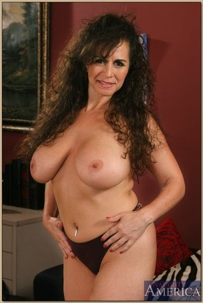 Busty mature Keisha brings parts massive bosom increased by spreads pink pussy
