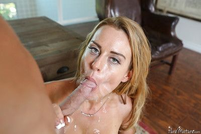Full-grown pornstar Corinna Blake rides a huge cock to cumshot coup