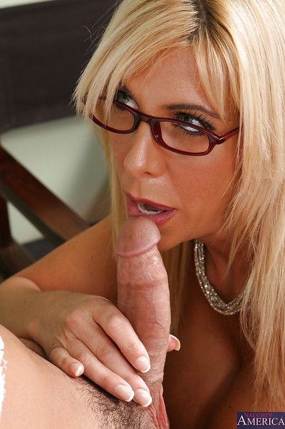 Of age tutor mom Misty is kissing plus dick sucking thither rub-down the office