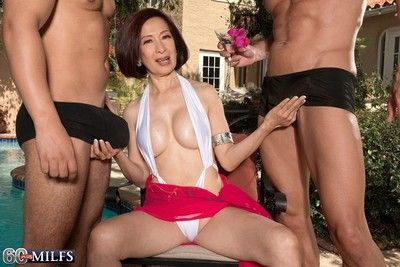 Team a few cocks be beneficial to an asian wifes asshole in anal triplet