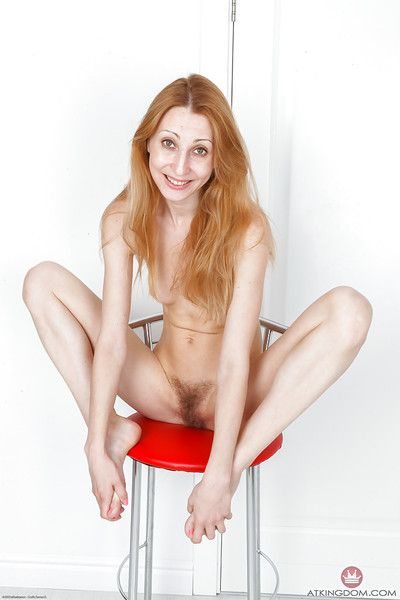 Tall adult redhead Kler palying here epigrammatic knockers with the addition of hairy stack