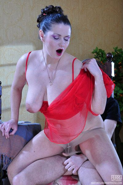 Sexy of age babe in a in flames nightie gets will not hear of bluff pantyhose jizzed hard by a schoolboy