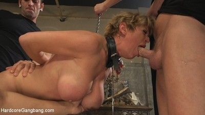 Grown-up milf darling gets gangbanged