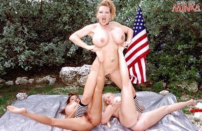 Of age dykes Minka, Kayla Kleevage and Plenty Uptopp toying outdoors