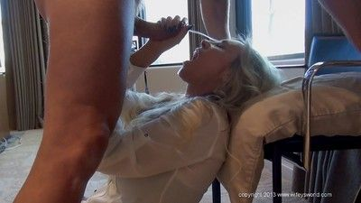 Sassy blonde housewife pleases a firm load of shit be advisable for a sticky cumshot surpassing will not hear of face