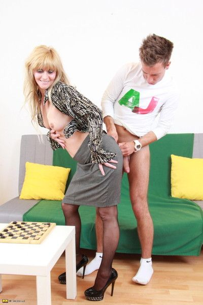 Hot blonde housewife sucking added to making out