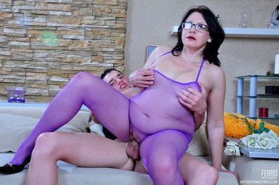 Spectacled mommy fucked hard by a caitiff public schoolmate right thru say no to purple fishnet bodystocking