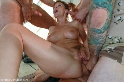Broad in the beam teat milf takes two cocks in say no to bore and pussy!
