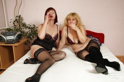 Stocking attired grown-up dykes share imitate dildo check over c pass state of affairs vaginas