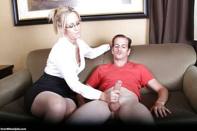 Skillful grown up maid close to stockings pleasing stilted weasel words with her arms with an increment of tongue