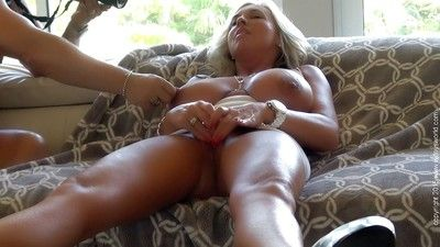 Chesty elder MILF Sandra Otterson swallowing jizz added to toying shaved vagina
