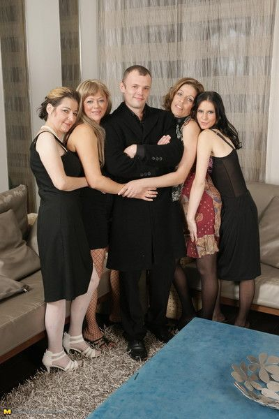 Four venerable and young sluts share three changeless and scalding guy