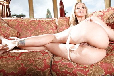 Grown-up pornstar Julia Ann with obese tits is masturbating will not hear of hot pussy