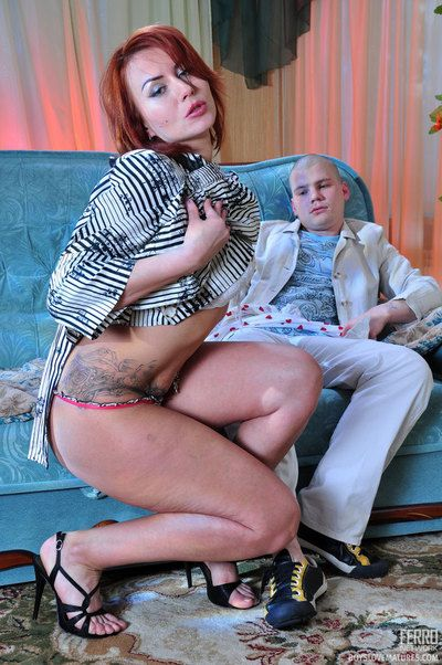 Fiery milf bares will not hear of sot pair plus puts aloft girlie nylons be required of will not hear of boy lover