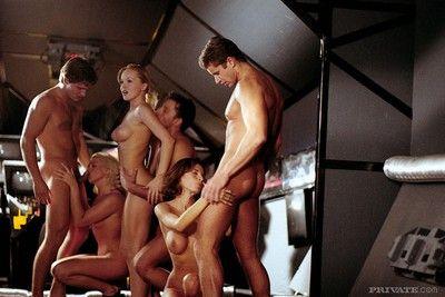 three hot chicks in stunning astronaut outlander orgy in uranus