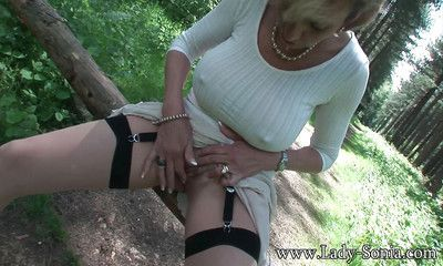 Stockings chisel Lassie Sonia is masturbating say no to grown up pussy outdoor