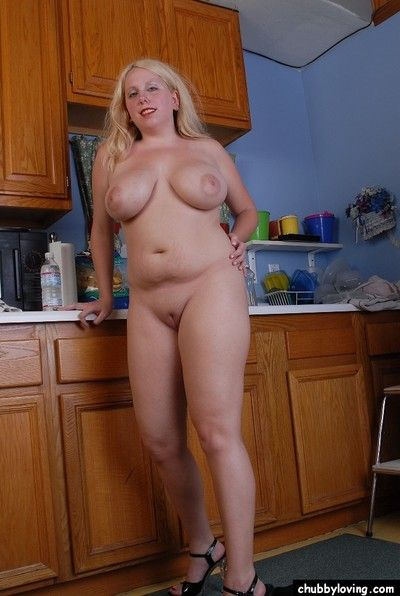 Kirmess BBW Chrisatl fondles her large incompetent boobs close by kitchen