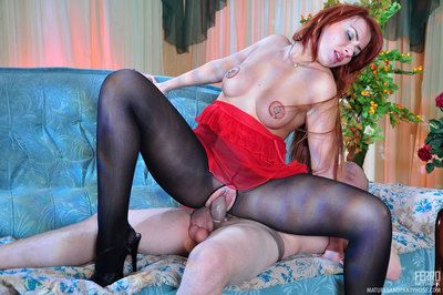 Oversexed milf in crotchless clay pipe getting rolling in money on with a man in nylon encasement