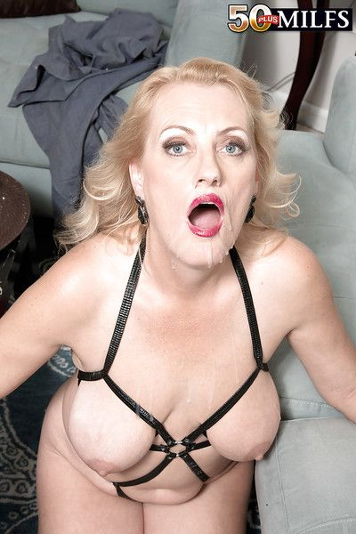 Elder statesman tow-headed MILF Lady Dulbin exposing saggy titties from underneath lingerie