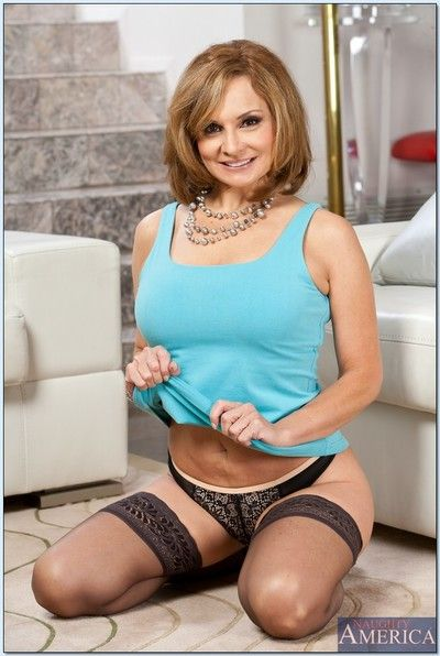Mature Rebecca Bardoux takes her undergarments off meticulous and slow