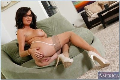 Comely mature cram wide glasses Veronica Avluv stripping elsewhere their way clothes