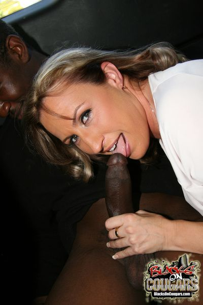 Cougar MILF fucks young nefarious with respect to van edibles cum